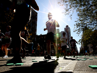 <p>Generators and other electric machinery were set up along Central Park West as ING New York City Marathon organizers prepared for the race.</p>