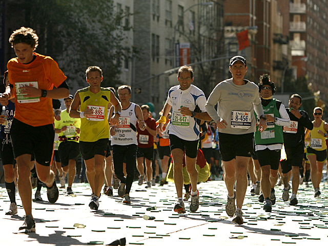 <p>Runners takes part in the 2011 New York City Marathon.</p>