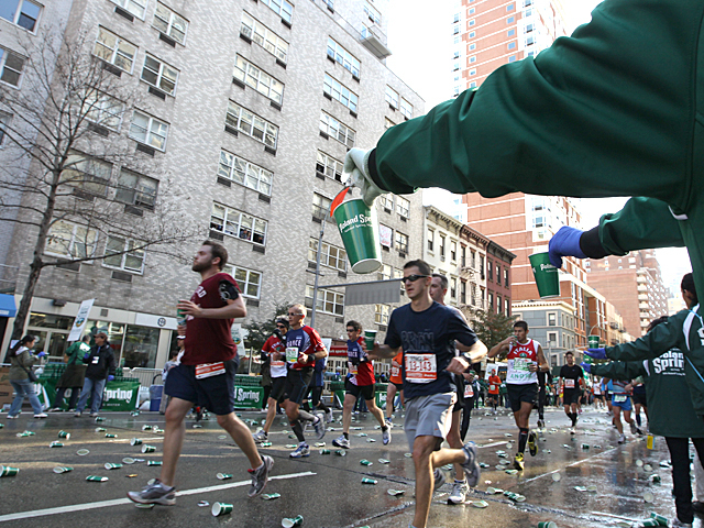 <p>Runners race through the Upper East Side during this years New York City Marathon.</p>