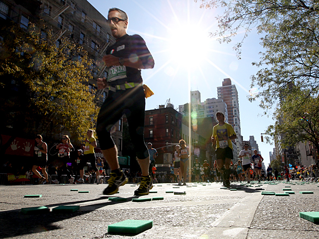 <p>Runners head towards the finish line of the New York City Marathon on No. 6th., 2011.</p>