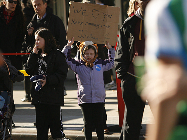 <p>Supporters of all ages cheered on family and friends during the New York City Marathon.</p>