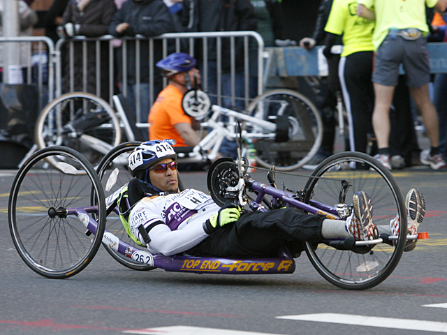 <p>An athlete competes in the New York City Marathon.</p>