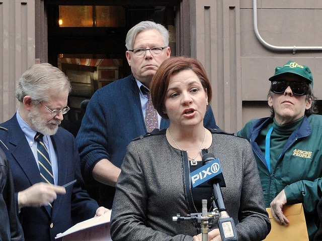 City Council Speaker Christine Quinn speaks out against evictions at a rally at 221 W. 16th St. on Nov. 6, 2011.