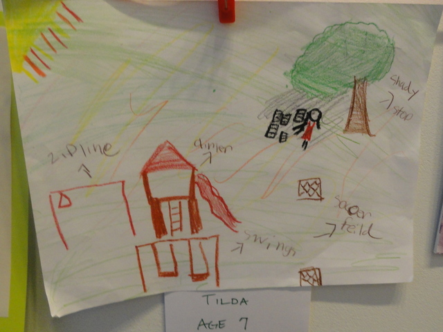 Kids submitted drawings of what they hope the quarter-acre park will look like when it's finished.