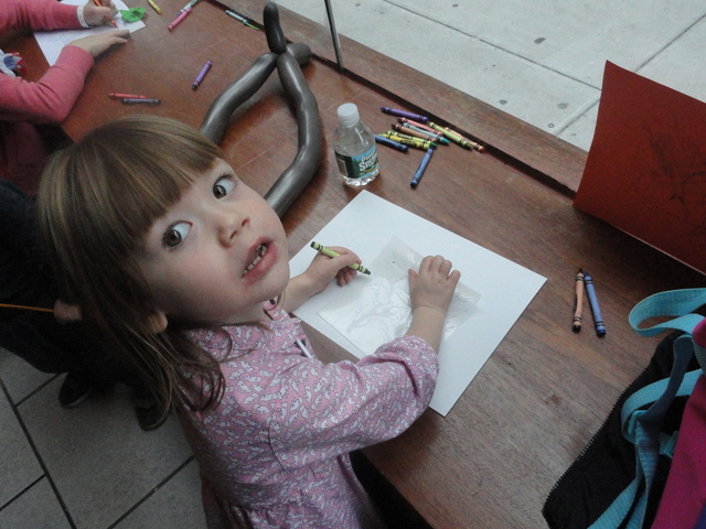 Seneca Walsh, 3, draws her dream park at an event in Chelsea on Sunday, Nov. 13, 2011.