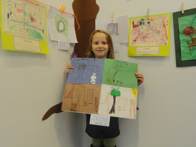 Jessie Hicks, 5, poses with her picture for the 20th Street Park.