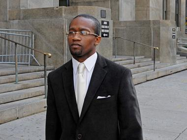 Oscar Fuller, 35, leaving Manhattan Criminal Court after mistrial in his assault trial on Nov. 14, 2011. After a second trial, he was convicted of misdemeanor assault but acquitted of the more serious felony assault charge.