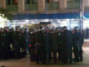 NYPD officers moved into Zuccotti Park early Tuesday morning.