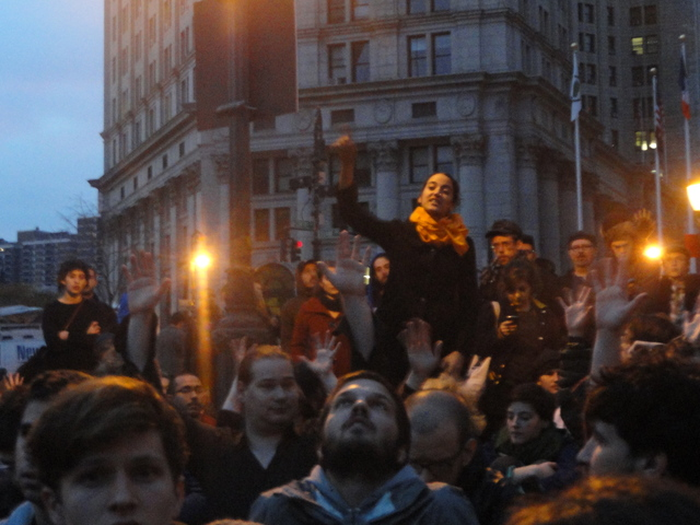 A protester speaking at the general assembly meeting at Foley Square, where the outsted Occupy Wall Street protesters went following the early morning raid on Tuesday 15th November, 2011.