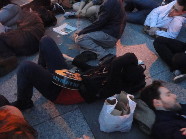 Protesters resting at Foley Square, where the outsted Occupy Wall Street protesters went following the early morning raid on Tuesday 15th November, 2011.