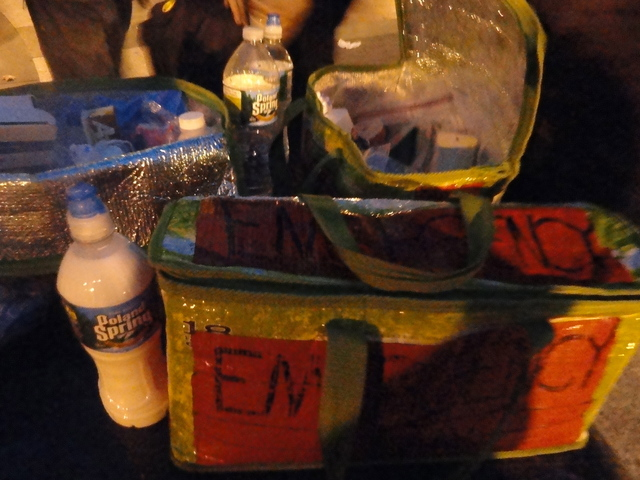 A pepper spray treatment kit at Foley Square, where the outsted Occupy Wall Street protesters went following the early morning raid on Tuesday 15th November, 2011.