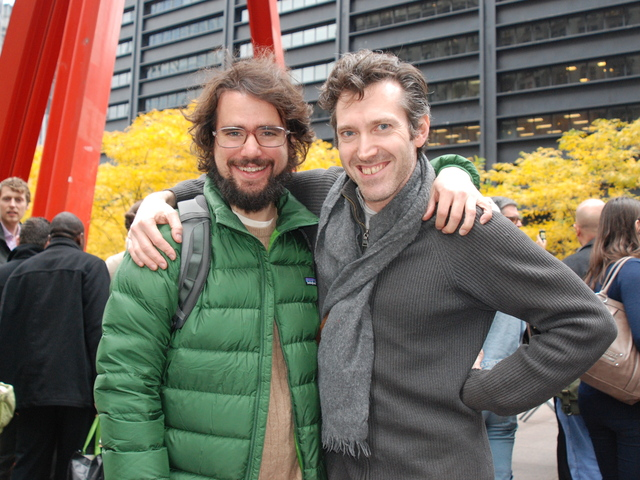 Brendan Lorber, (right) from Brooklyn and Filip Marinovich (right), from the Lower East Side, were removed from Zuccotti Park in the police raid in the early hours of Tuesday Nov. 15th, 2011, and in the early afternoon of Tuesday were waiting to re-enter the park.
