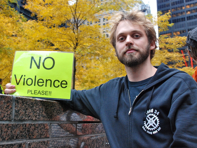 Mitch Cady outside Zuccotti Park on Tuesday Nov. 15th, 2011, after the police raid in the early hours of Tuesday.