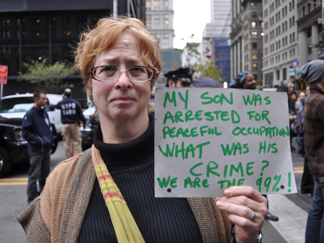 Sara Sitshul, 61, of Brooklyn said her son Chris O'Donnell, 23, was arrested last night. He was working in the kitchen at Occupy Wall Street.