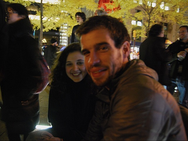 Lauren Thorpe, 26, of New York and her boyfriend Logan Price, 28, of Seattle at Zuccotti Park on Nov. 15, 2011, the night after the plaza was cleaned.