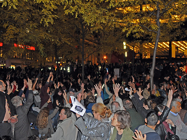 Protesters hold a general assembly meeting at Zuccotti Park on Nov. 15, 2011 after they are allowed back into the plaza following their eviction.