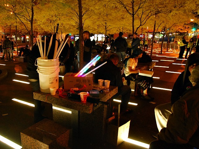 A box of glow sticks at Zuccotti Park on Nov. 15, 2011 after Occupy Wall Street protesters were evicted.
