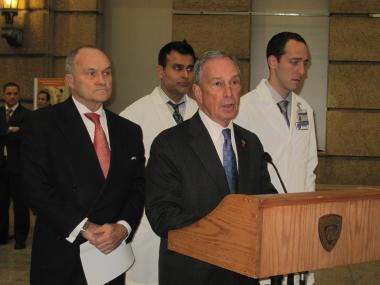 Mayor Michael Bloomberg and Police Commissioner Ray Kelly addressed reporters after visiting an injured police officer at Bellevue Hospital Center.