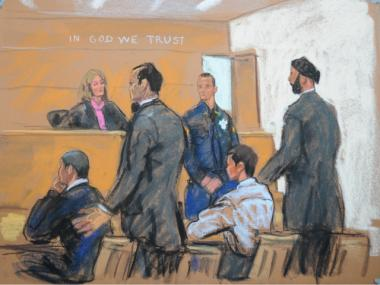 A sketch of the boys accused of pushing a shopping cart off of a Harlem parking garage, critically injuring philanthropist Marion Hedges.