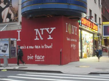 The new Pie Face location on Broadway at the corner of West 53rd.