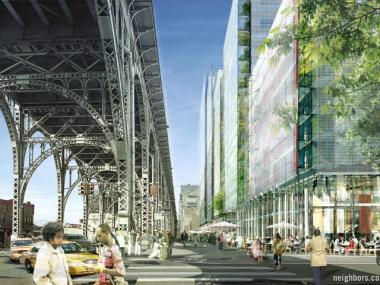 A rendering of the view on 12th Avenue as part of Columbia University's Manhattanville expansion.