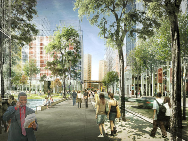 <p>A rendering of the view from West 130th Street where a public square is planned.</p>