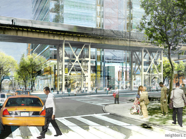 <p>A conceptual drawing shows a view of West 129th Street and Broadway and the Jerome L. Greene Science Center.</p>