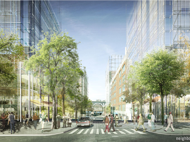 <p>A rendering of the view from West 131st Street and Broadway looking west.</p>