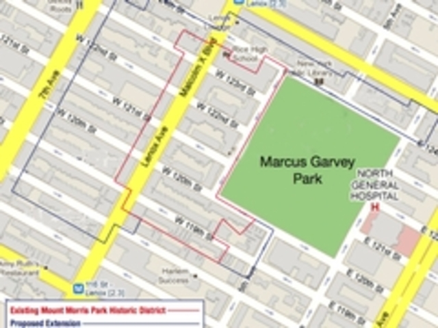 The boundaries of the current Mount Morris Park Historic District in red, and the proposed new boundary, in blue.