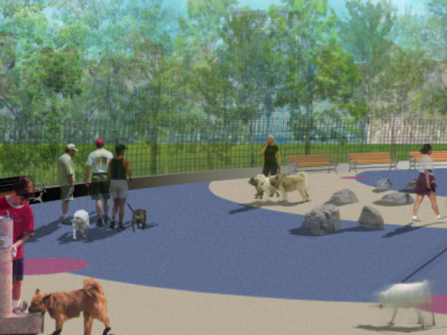 <p>The new Hudson River Park dog run in TriBeCa will feature a dog-height water fountain and separate areas for large and small dogs.</p>