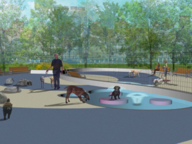 <p>The new TriBeCa dog run in Hudson River Park will include an interactive water feature that dogs will turn on by hopping on a bollard.</p>