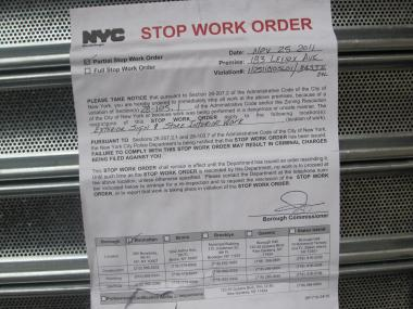 A stop work order and violations were issued against a liquor store at 183 Lenox Ave., at West 119th Street that residents say is out of character with the historic district.