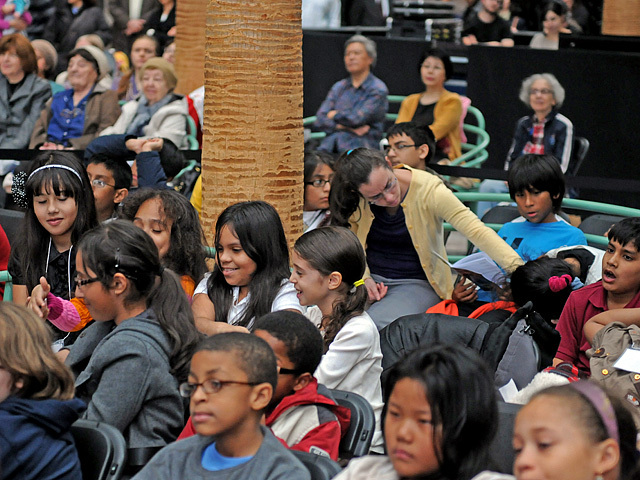 Students watch the New York Theatre Ballet's performance of The Nutcracker on Nov. 29, 2011.