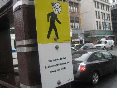 John Morse's signs and haiku's are designed to promote traffic safety.