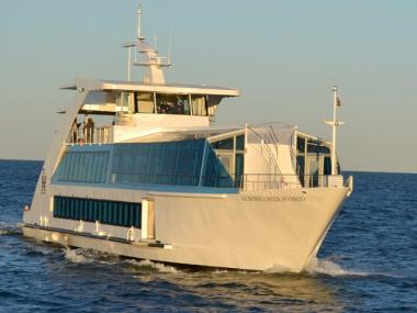 Private, charter voyages aboard the Hornblower Hybrid are available beginning in November 2011.