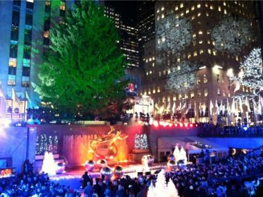 Thousands pack into Rockefeller Center on Nov. 30, 2011 for the annual Christmas Tree lighting.