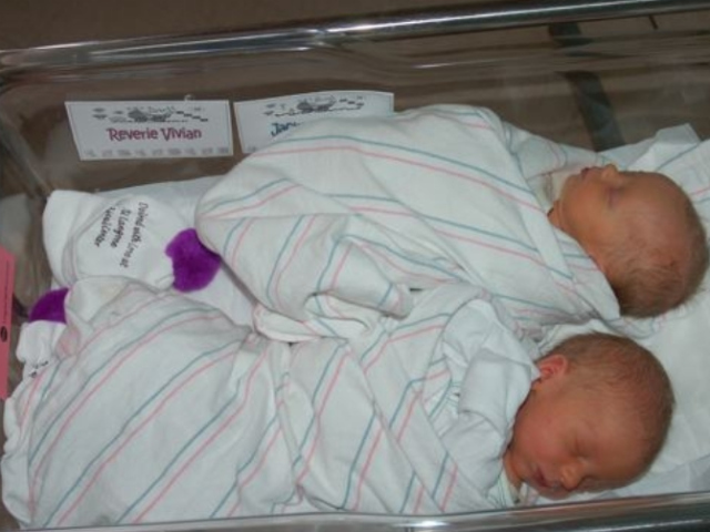 Newborn fraternal twins Reverie Vivian and Jackson James  Snyder.