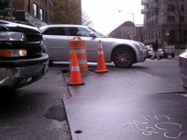 A sinkhole opened on a busy stretch of Second Avenue at East 40th Street on Mon., Dec. 5, 2011.