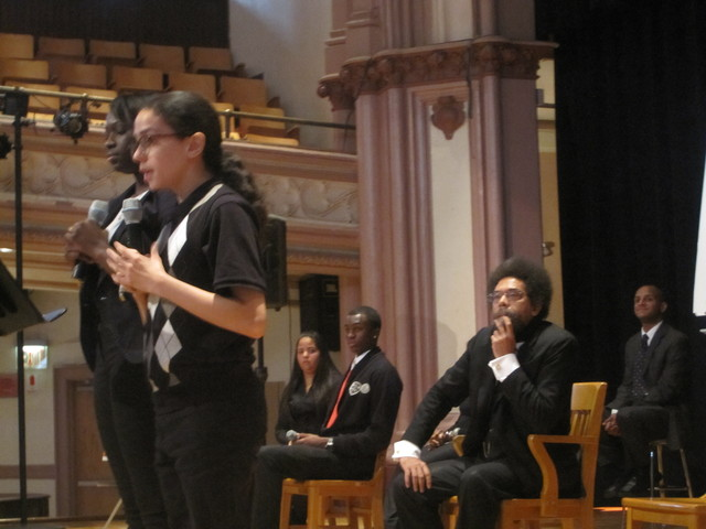 <p>Cornel West looks on as he is introduced by Wadleigh students.</p>