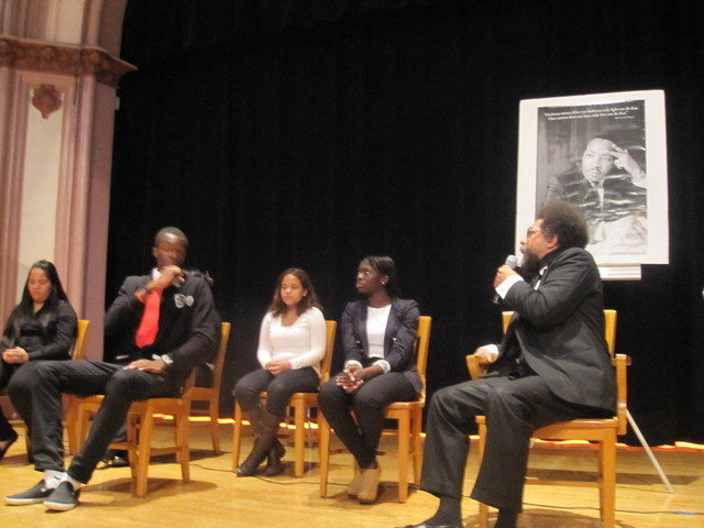 <p>Cornel West answers a question about racism from Jamal Augustin, 16, an 11-grade student at Wadleigh.</p>