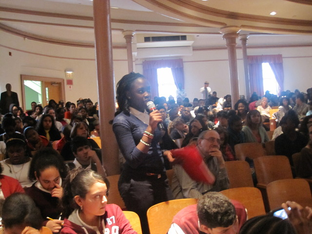 <p>Fatou Lam, 14, an eight-grade at P.S/M.S. 123, asked Cornel West what students could do to fight the changes happening at their school.</p>