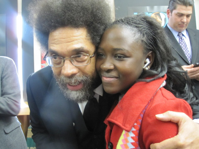 <p>Cornel West with Fatou Lam, 14, an eight-grade at P.S/M.S. 123.</p>