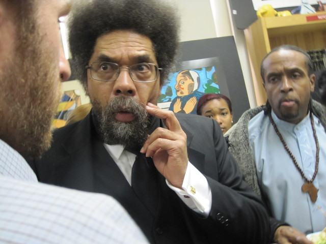 <p>Cornel West stayed after his speech to speak with students, sign autographs and take pictures.</p>