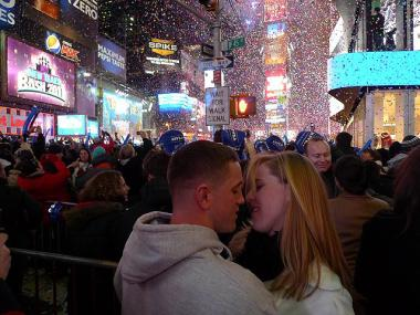 A couple ushers in 2011 with a kiss in Times Square, Jan. 1, 2011.