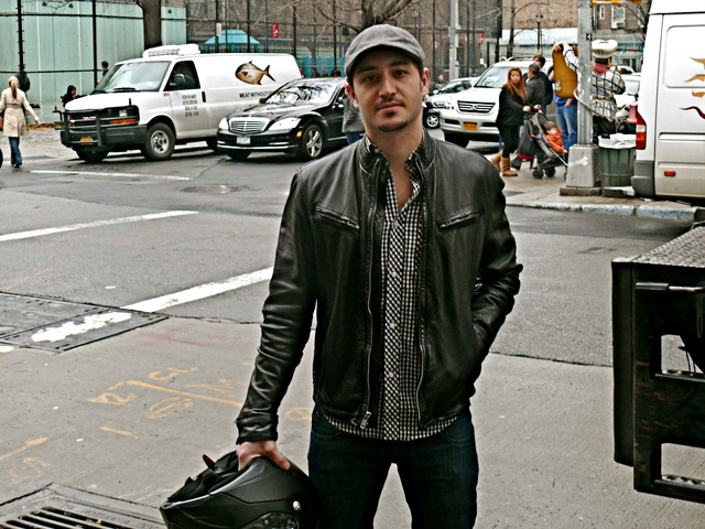 Michael C. in trim fitted biker style, Thompson Street SoHo.