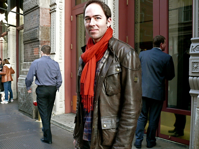 Dushan K. in a Belstaff classic jacket with spice colors, in SoHo.