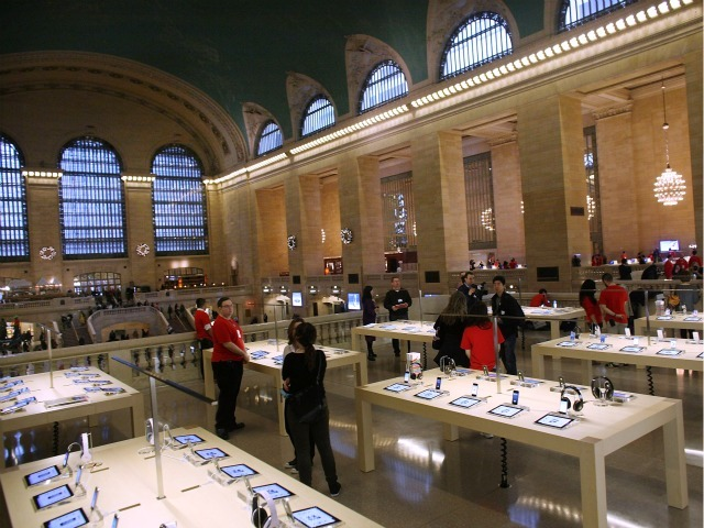 People walk through the new Apple store in Grand Central Terminal.