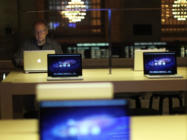 Laptops for sale are displayed at the new Apple store in Grand Central.