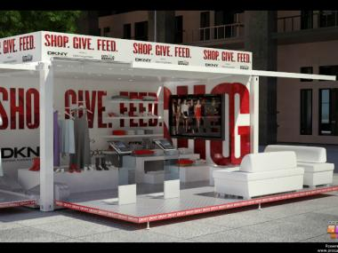 Steel Space Productions used shipping containers for its DKNY pop-up shops.
