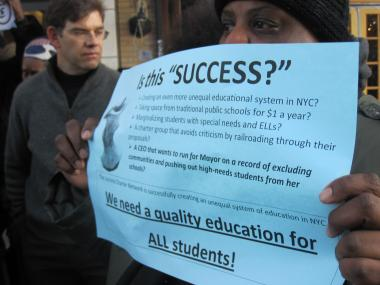 Parents from Harlem, Brooklyn and the Bronx gathered in front of the Lenox Avenue headquarters of Eva Moskowitz' Success Charter Network Thursday to protest the school's expansion plans.